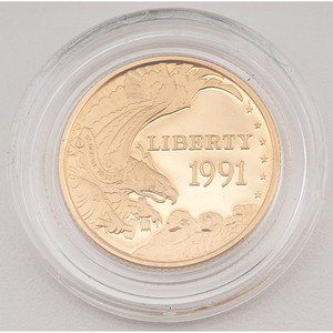 United States Mount Rushmore Golden Anniversary $5 Gold 1991-W, Proof