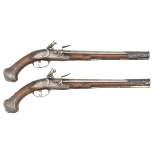 Pair of Early Flintlock Holster Pistols by Giles Desellier For The Middle Eastern Market