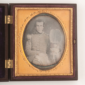 Sixth Plate Daguerreotype of Militiaman Posed with 1851 Shako Emblazoned HENRY'S