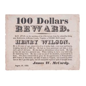 Runaway Slave Reward Broadside, Jefferson County, (West) Virginia, 1835
