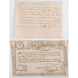 Two Documents from Colonial Massachusetts and Connecticut, Including Massachusetts Bay Lottery Ticket