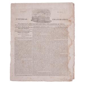 The Genius of Universal Emancipation, Very Rare Seminal Abolitionist Newspaper, August 9, 1828