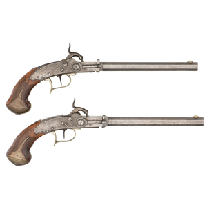 Pair of Breech-Loading Percussion Pistols By N. Lobnitz