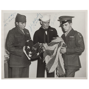 Iwo Jima Photograph Signed by Flag Raisers (and Witness) Ira Hayes, John Bradley, and Rene Gagnon