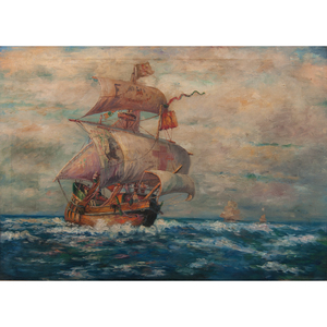 19th Century Painting of Spanish Galleon at Sea, Oil on Canvas