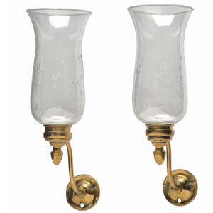 Brass and Etched Glass Wall Sconces