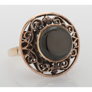 10 Karat Gold Black Star Sapphire Ring