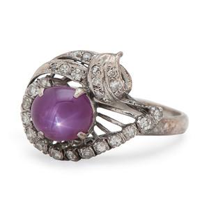 18 Karat White Gold Star Ruby and Diamond Ring