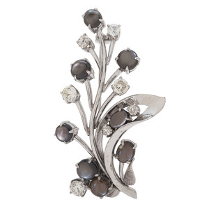 14 Karat White Gold Black Star Sapphire and Diamond Brooch