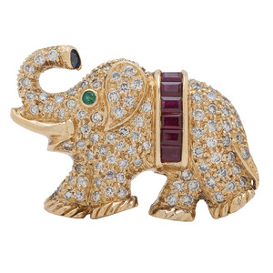 18 Karat Gold Diamond and Gemstone Elephant Brooch