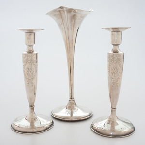 Sterling Weighted Candlesticks and Vase
