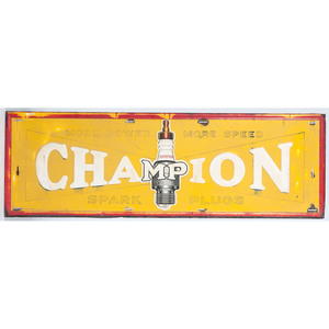 Champion Spark Plugs Tin Embossed Ad Sign