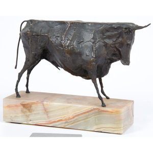 Bronze Bull Figure on Marble Plinth
