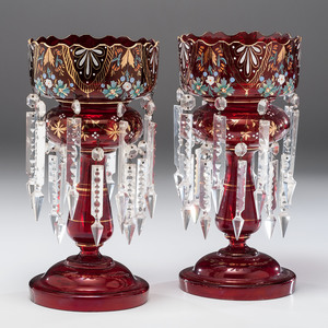 Bohemian Cranberry Glass Lusters