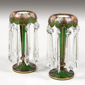 Pair Bohemian Green Glass Lusters