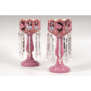 Pair of Pink Glass Lusters