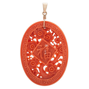 Carved Coral Pendant