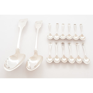 English and Irish Sterling Tablespoons and Demitasse Spoons