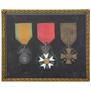 French Franco -Prussian War Military Framed Medals, Lot of 6