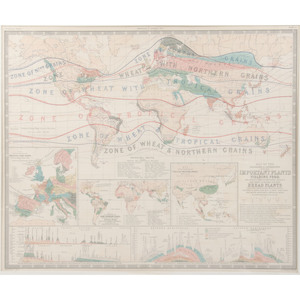 [Americana - Cartography]  Lot of 4 Maps from Johnston's Physical Atlas 1854 - Large Color Engravings - 25 by 20 1/2 inches; One in a Frame
