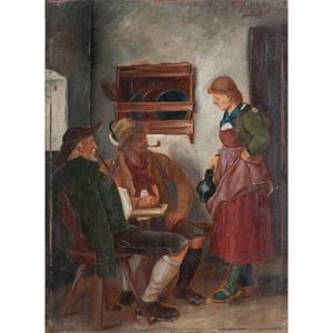 Franz von Defregger (German, 1835-1921) Oil on Wood Panel