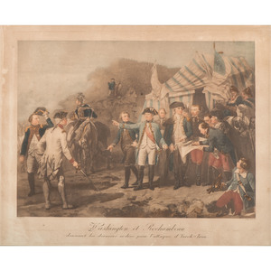 [Americana - Illustrated] Late 18th Century Colored Lithograph by Massard - Washington et Rochambeau