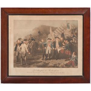 [Americana - Illustrated] Late 18th Century Colored Lithograph by Massard - Washington et Rochambeau