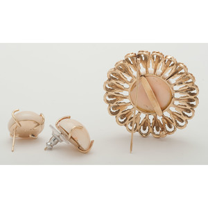 14 Karat Gold Coral Brooch and Earrings