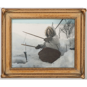 Alaska Native Fishing Through the Ice, Framed Hand-Colored Photograph by Lomen Bros., Nome