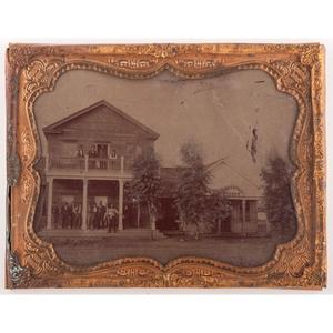 Half Plate Tintype of an Inn and Saloon
