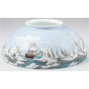 Hand-Painted Lamp Shade of an Arctic Expedition, Ca 1870s-1880s
