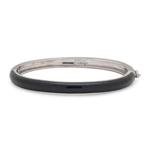 Hidalgo 18 Karat White Gold Black Enamel Bracelet