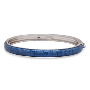 Hidalgo 18 Karat White Gold Blue Enamel Bracelet