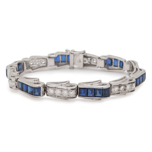 OLD RECORD 14 Karat White Gold Sapphire and Diamond Bracelet