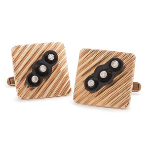 14 Karat Gold Onyx and Diamond Cufflinks