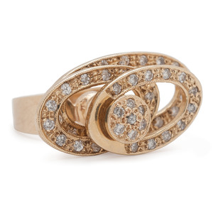 14K Gold Diamond Spinning Ring