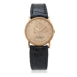Bueche-Girod 18 Karat Yellow Gold Coin Wrist Watch