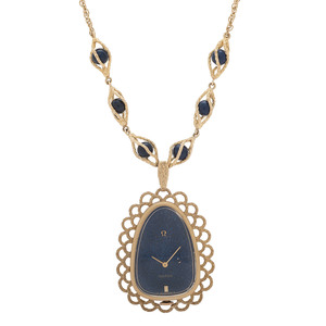 Omega 14 Karat Yellow Gold Pendant Watch with Lapis