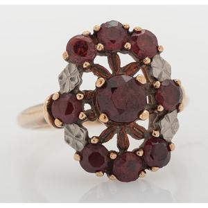 10 Karat Gold Garnet Cluster Ring