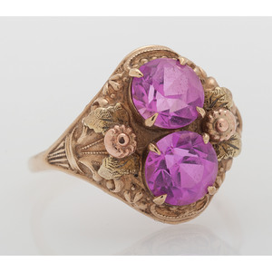10 Karat Gold Synthetic Pink Sapphire Ring