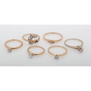 Diamond Rings in Karat Gold, Lot of Six