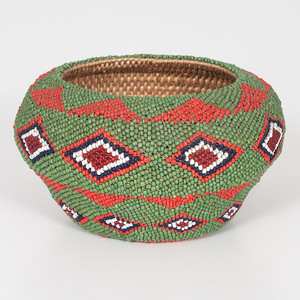 Paiute Beaded Basket, Collected by Reverend Elmer Ellsworth Higley (b. 1867)