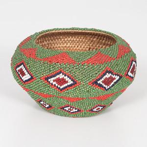 Paiute Beaded Basket, Collected by Reverend Elmer Ellsworth Higley (b. 1867)