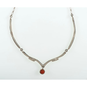 Joe H. Quintana (Cochiti, 1915-1991) Silver Necklace with Coral Pendant