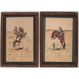 George K. Bourke, Two Cowboy Watercolor Paintings, 1905