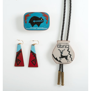 Rosella Quintana (Cochiti, 20th century) Enameled Copper Earrings, Belt Buckle, and Bolo Tie