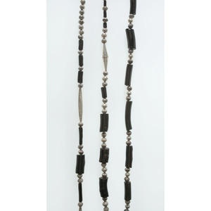 Cochiti Silver and Black Bead Necklaces