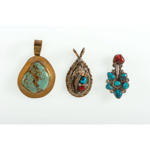 Navajo Silver and Turquoise Pins and Pendants