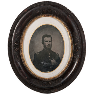 Civil War Whole Plate Tintype of a Union Captain