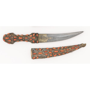 Middle Eastern Dagger with Stone and Coral Mounts